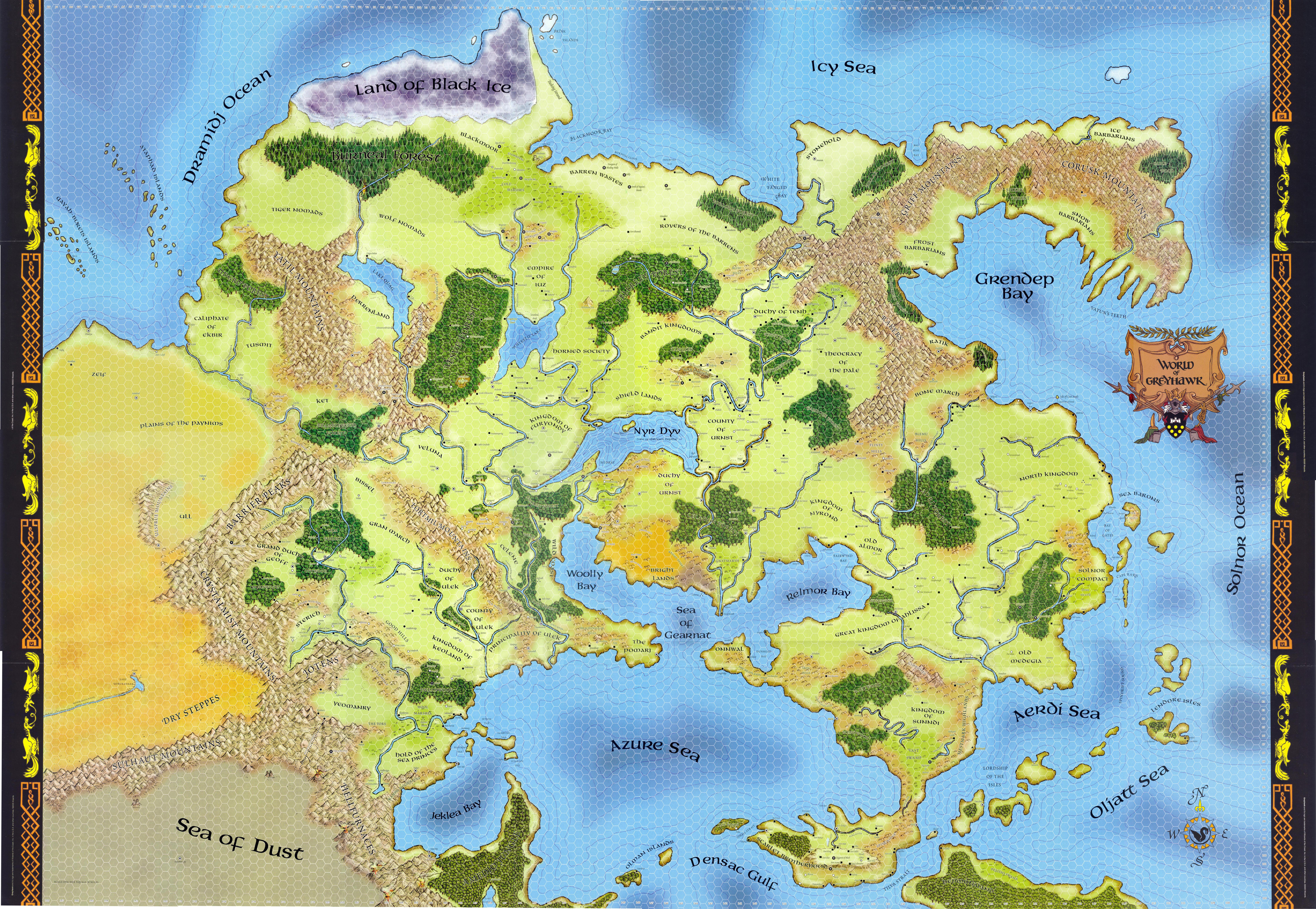 Original World of Greyhawk Map from D&D 1st edition [9000x6220 ...